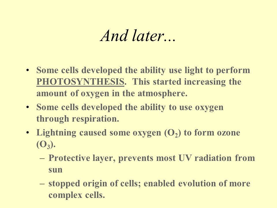 And later... Some cells developed the ability use light to perform PHOTOSYNTHESIS. This started increasing the amount of oxygen in the atmosphere.