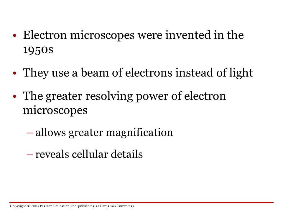 Electron microscopes were invented in the 1950s