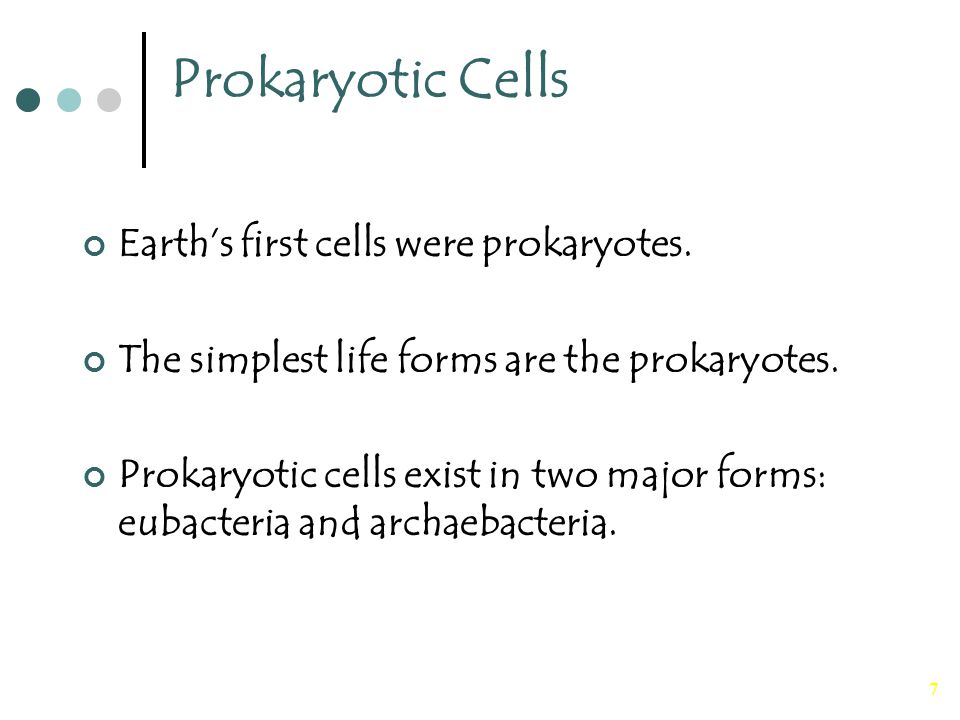 Prokaryotic Cells Earth's first cells were prokaryotes.