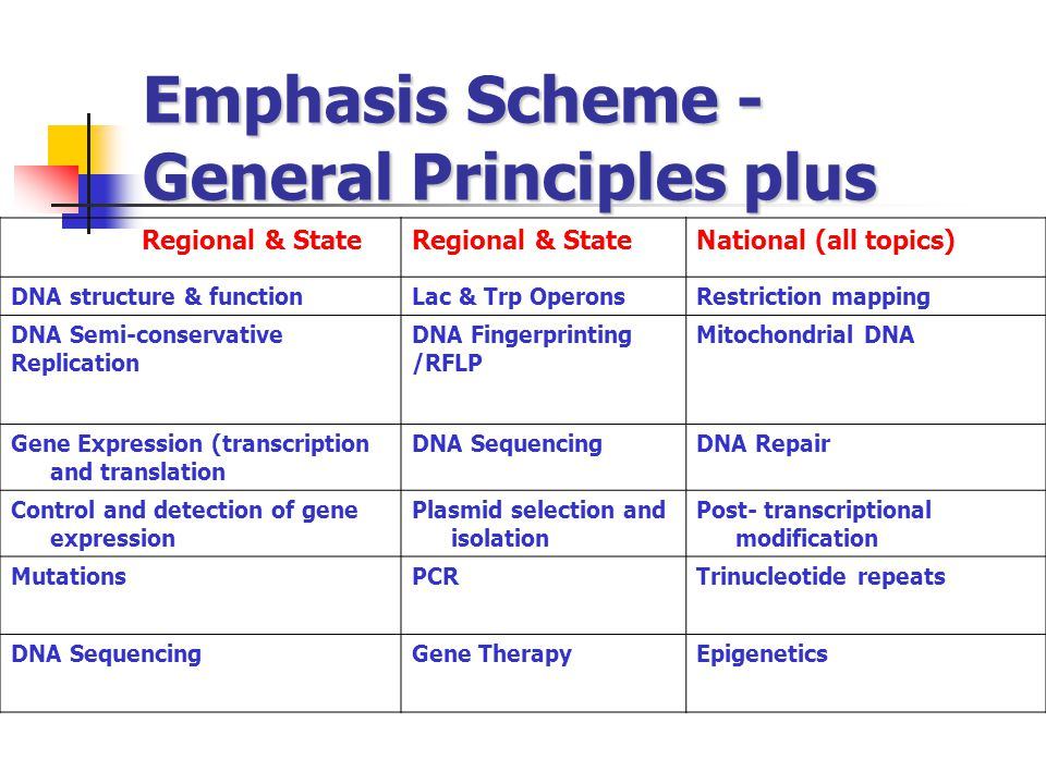 Emphasis Scheme - General Principles plus