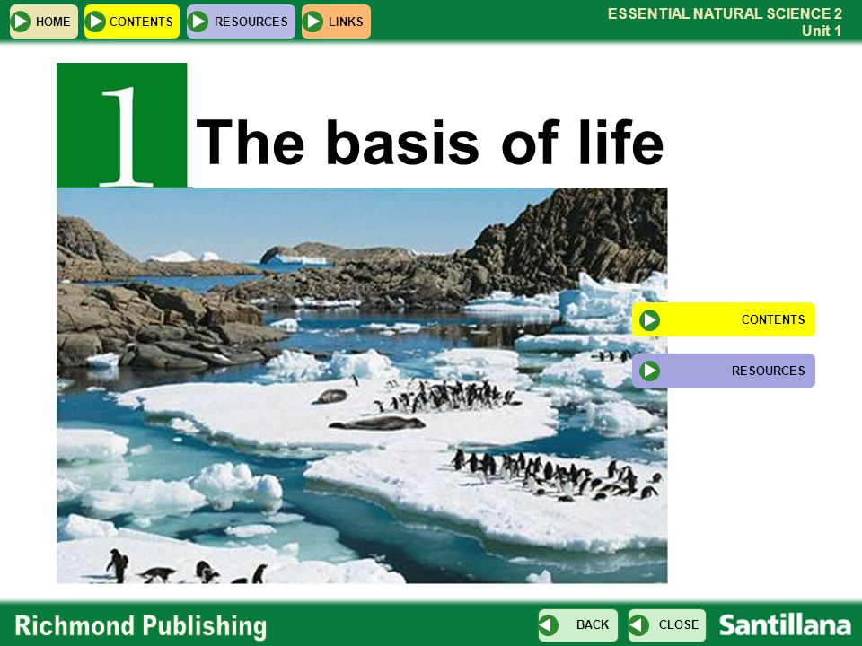 The basis of life CONTENTS RESOURCES