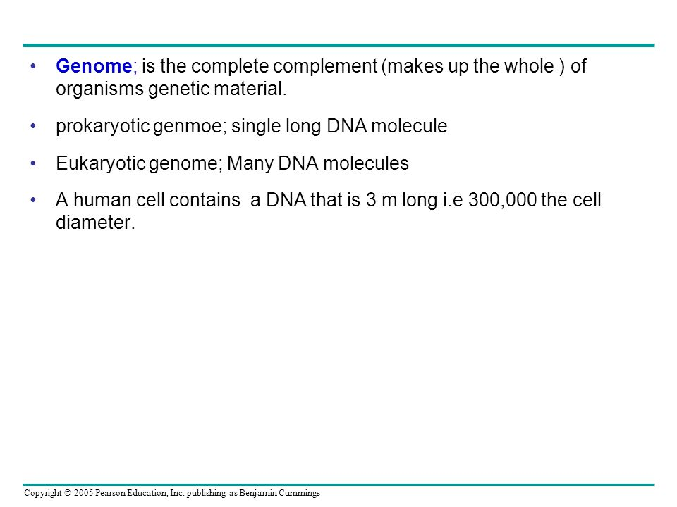 Genome; is the complete complement (makes up the whole ) of organisms genetic material.