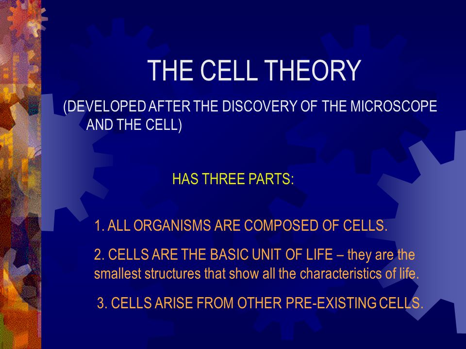 THE CELL THEORY (DEVELOPED AFTER THE DISCOVERY OF THE MICROSCOPE AND THE CELL) HAS THREE PARTS: 1. ALL ORGANISMS ARE COMPOSED OF CELLS.