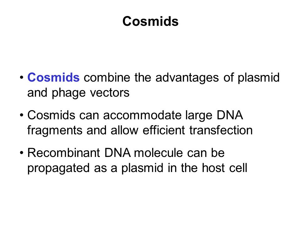 Cosmids Cosmids combine the advantages of plasmid and phage vectors