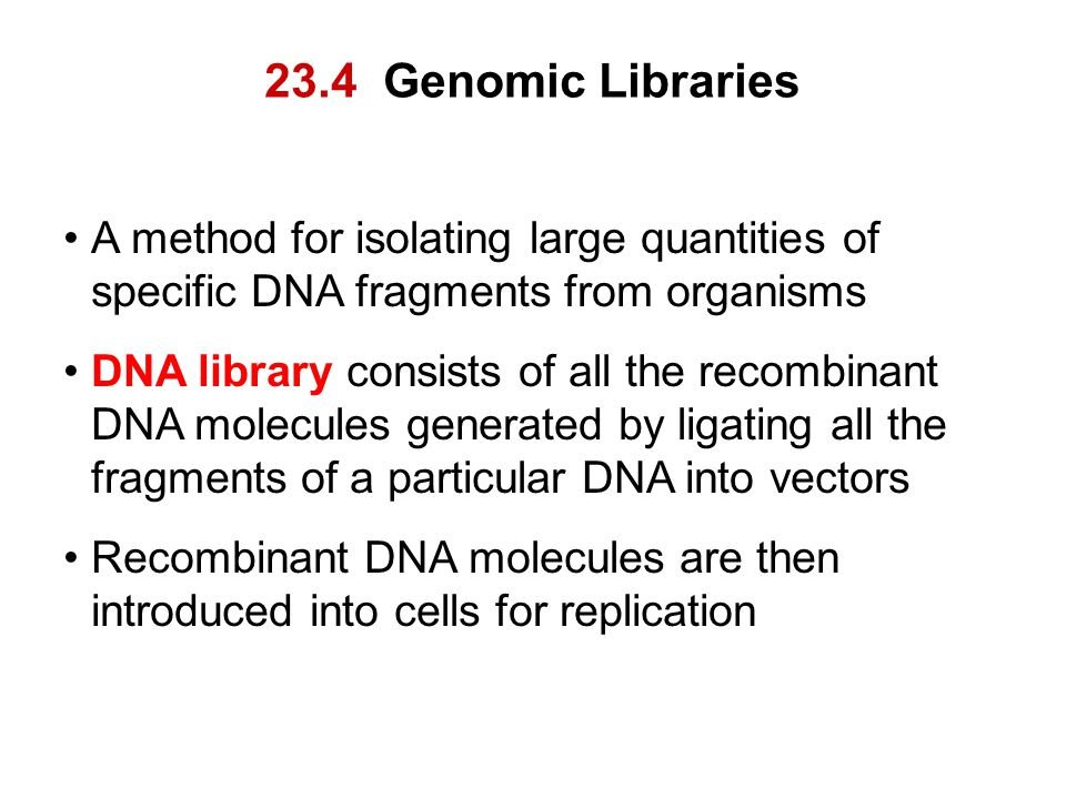 23.4 Genomic Libraries A method for isolating large quantities of specific DNA fragments from organisms.