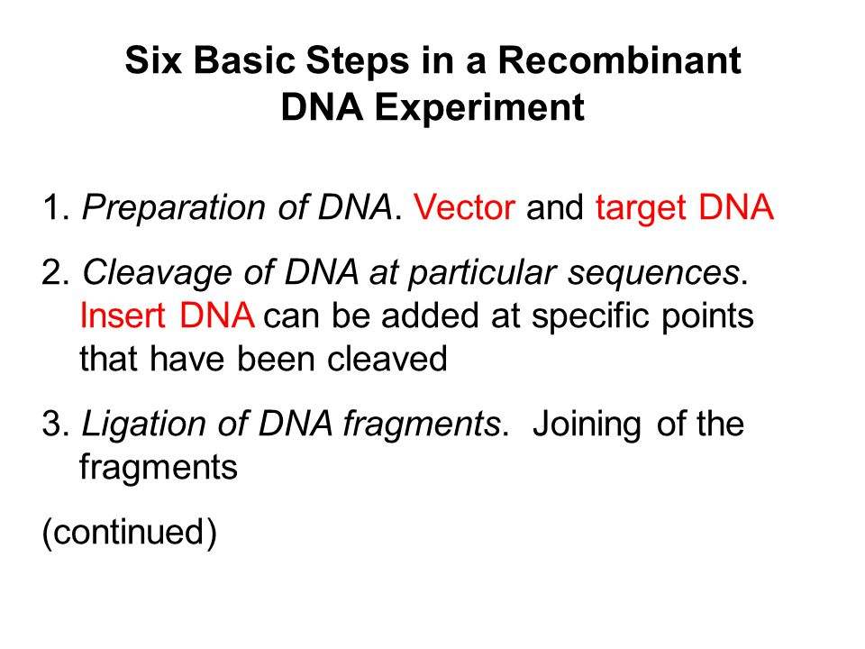 Six Basic Steps in a Recombinant DNA Experiment
