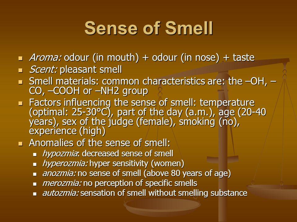 Sense of Smell Aroma: odour (in mouth) + odour (in nose) + taste