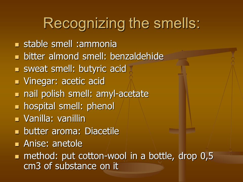 Recognizing the smells: