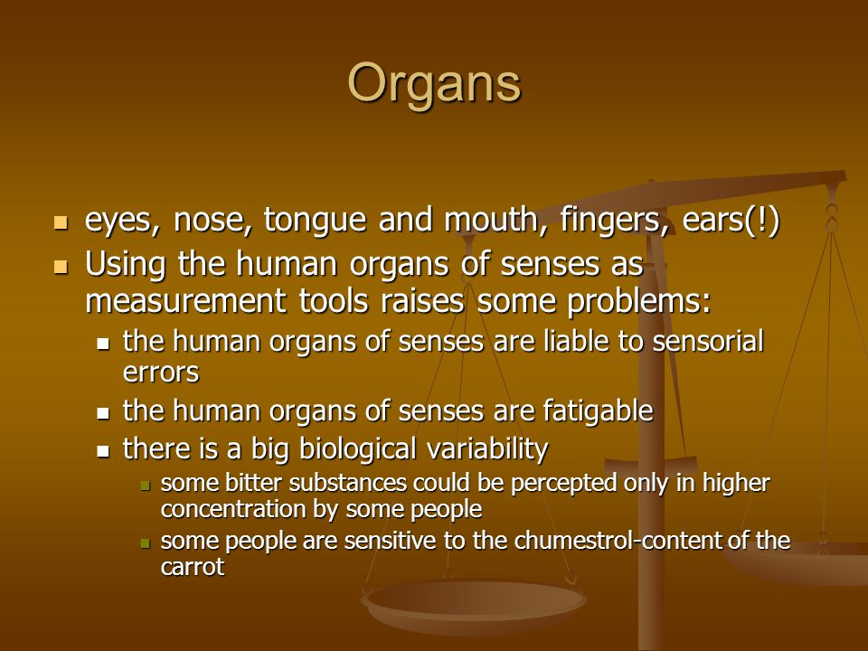 Organs eyes, nose, tongue and mouth, fingers, ears(!)
