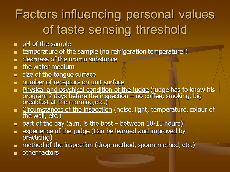 Factors influencing personal values of taste sensing threshold