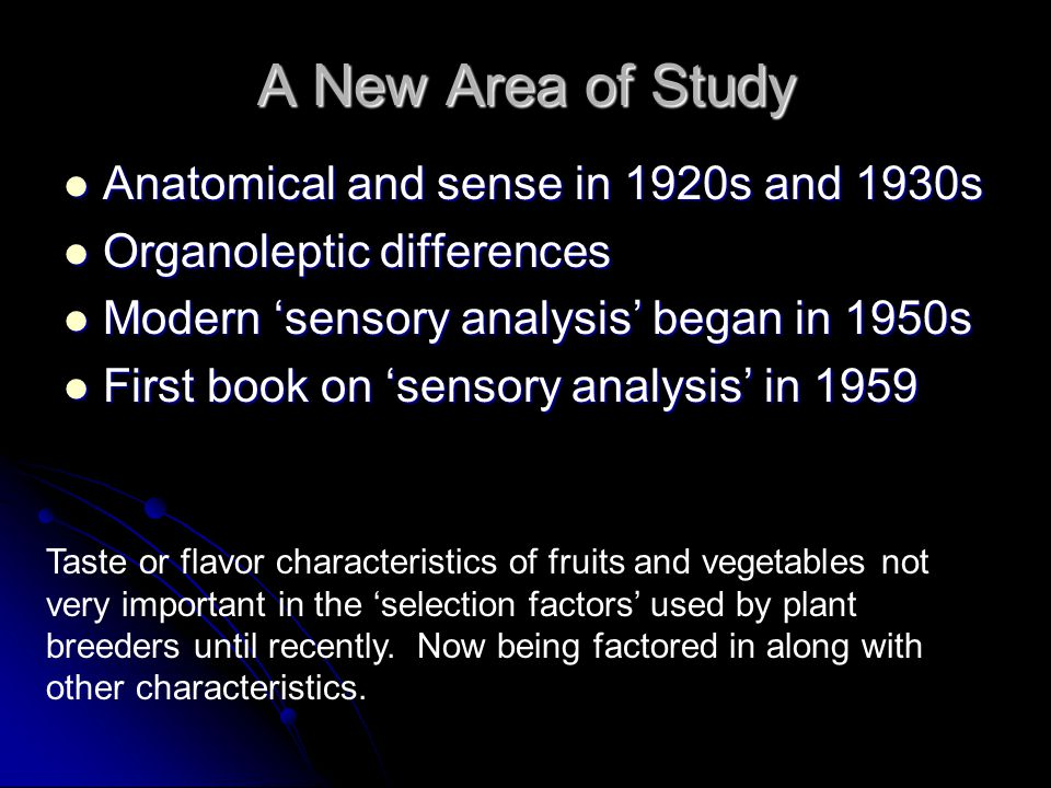 A New Area of Study Anatomical and sense in 1920s and 1930s