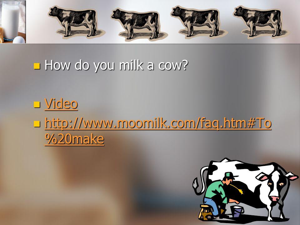 How do you milk a cow Video http://www.moomilk.com/faq.htm#To%20make