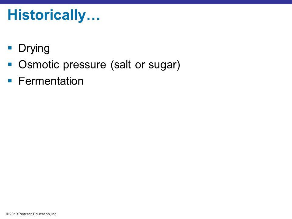 Historically… Drying Osmotic pressure (salt or sugar) Fermentation