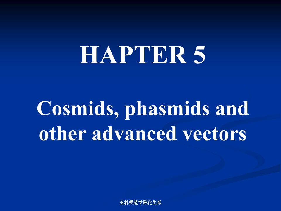 Cosmids, phasmids and other advanced vectors