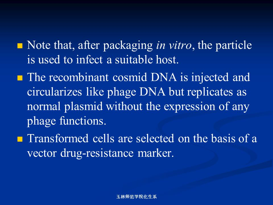 Note that, after packaging in vitro, the particle is used to infect a suitable host.