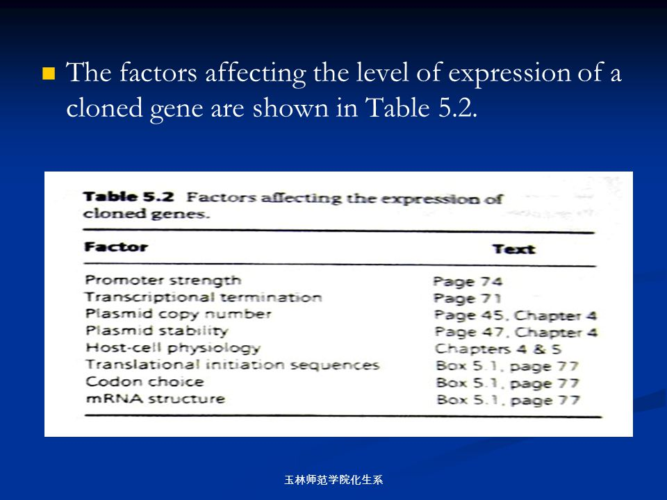 The factors affecting the level of expression of a cloned gene are shown in Table 5.2.