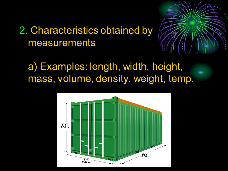 2. Characteristics obtained by measurements
