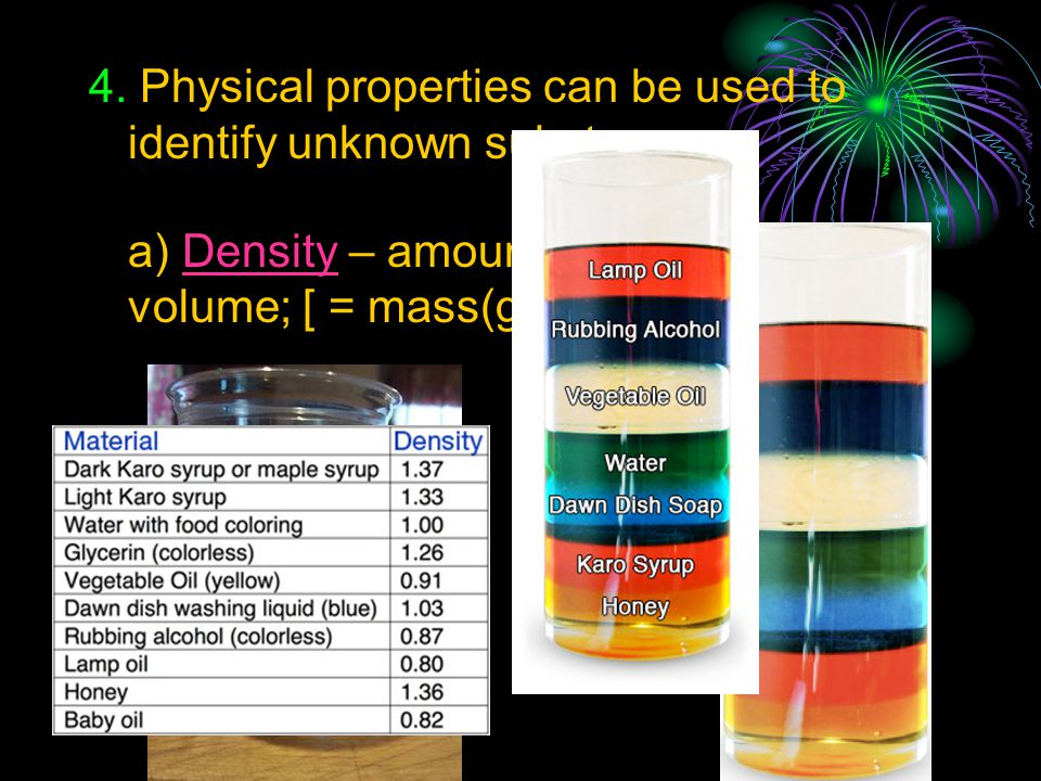 4. Physical properties can be used to identify unknown substances