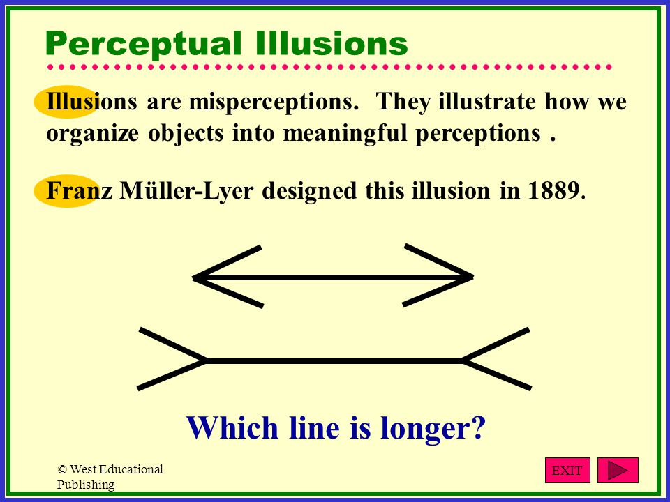 Perceptual Illusions Which line is longer