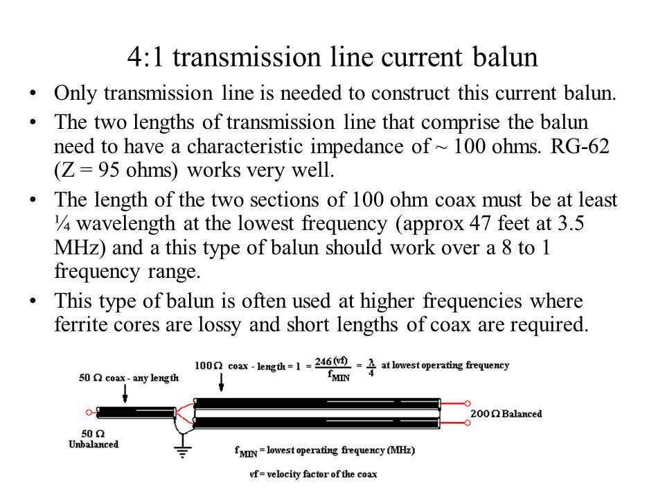4:1 transmission line current balun