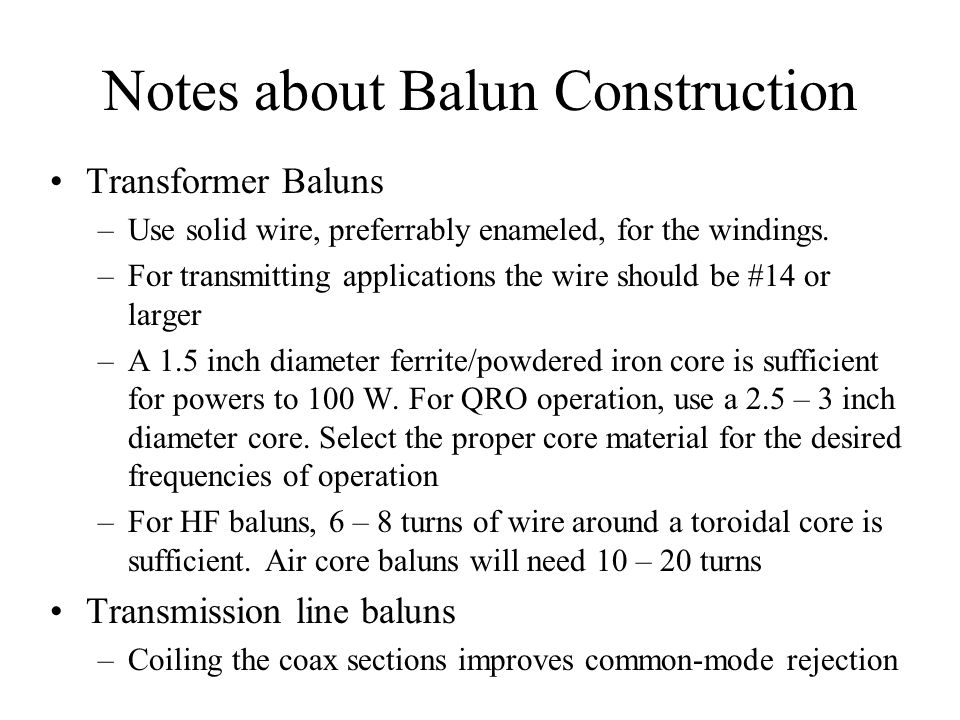 Notes about Balun Construction