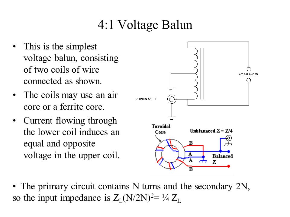 4:1 Voltage Balun This is the simplest voltage balun, consisting of two coils of wire connected as shown.