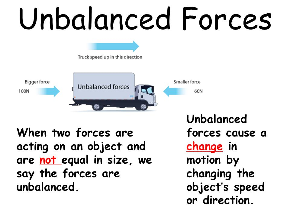 Unbalanced Forces Unbalanced forces cause a change in motion by changing the object's speed or direction.