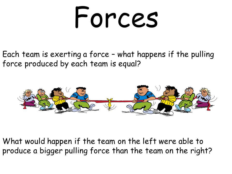 Forces Each team is exerting a force – what happens if the pulling force produced by each team is equal