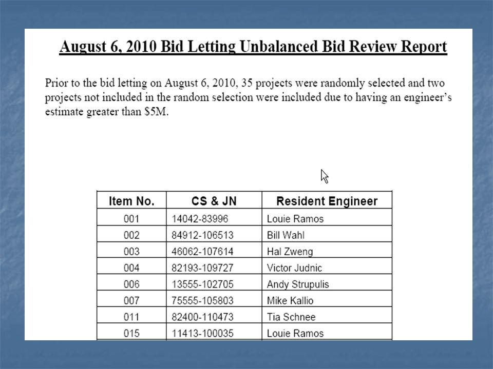 This is a sample of the report for each letting, listing the jobs that were either greater than $5 million or were randomly selected for review.