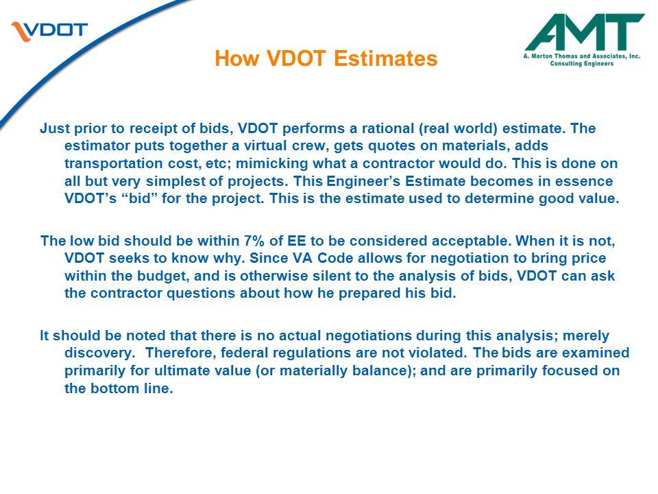 How VDOT Estimates