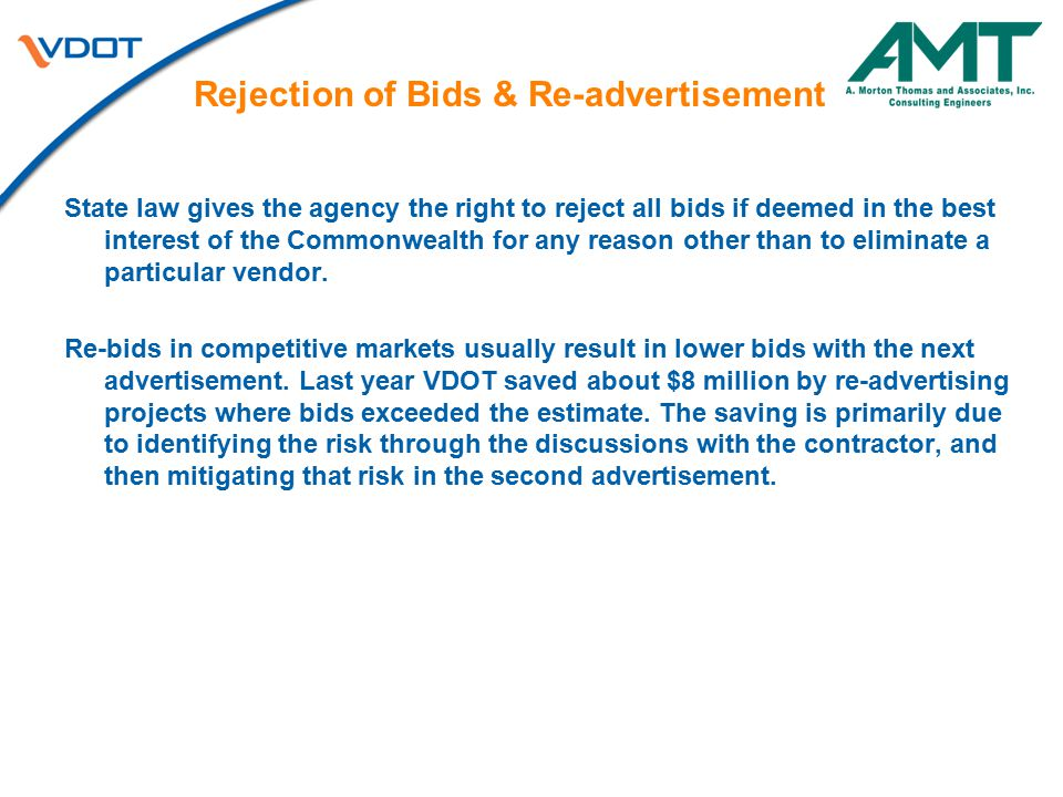 Rejection of Bids & Re-advertisement