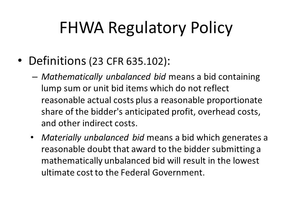 FHWA Regulatory Policy