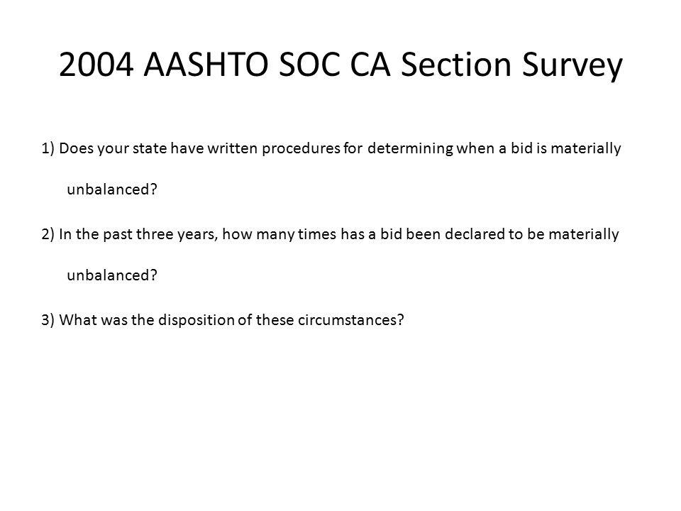 2004 AASHTO SOC CA Section Survey