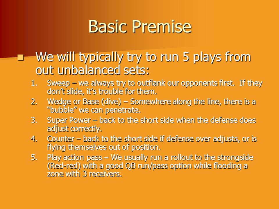 Basic Premise We will typically try to run 5 plays from out unbalanced sets: