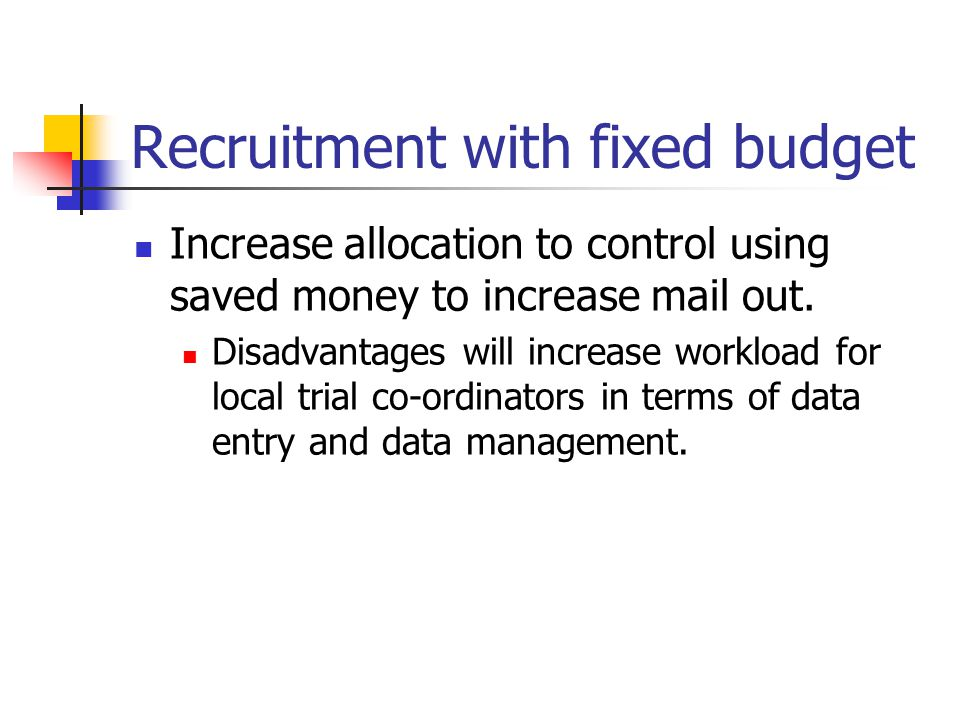 Recruitment with fixed budget
