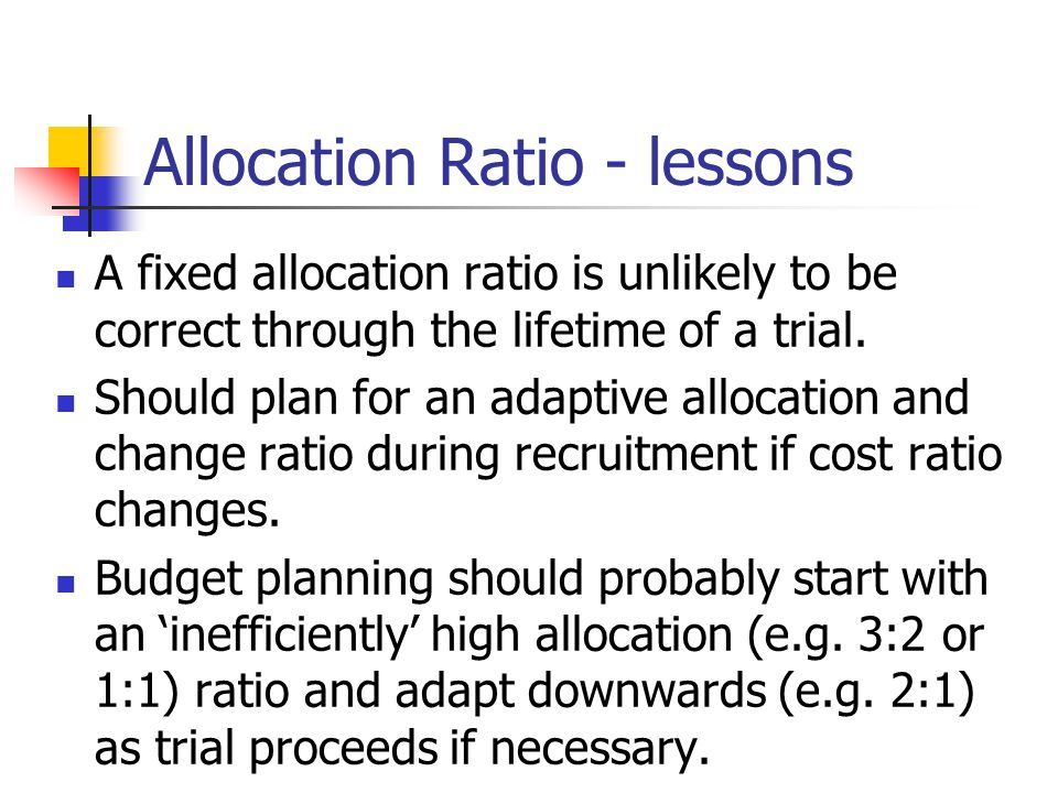 Allocation Ratio - lessons