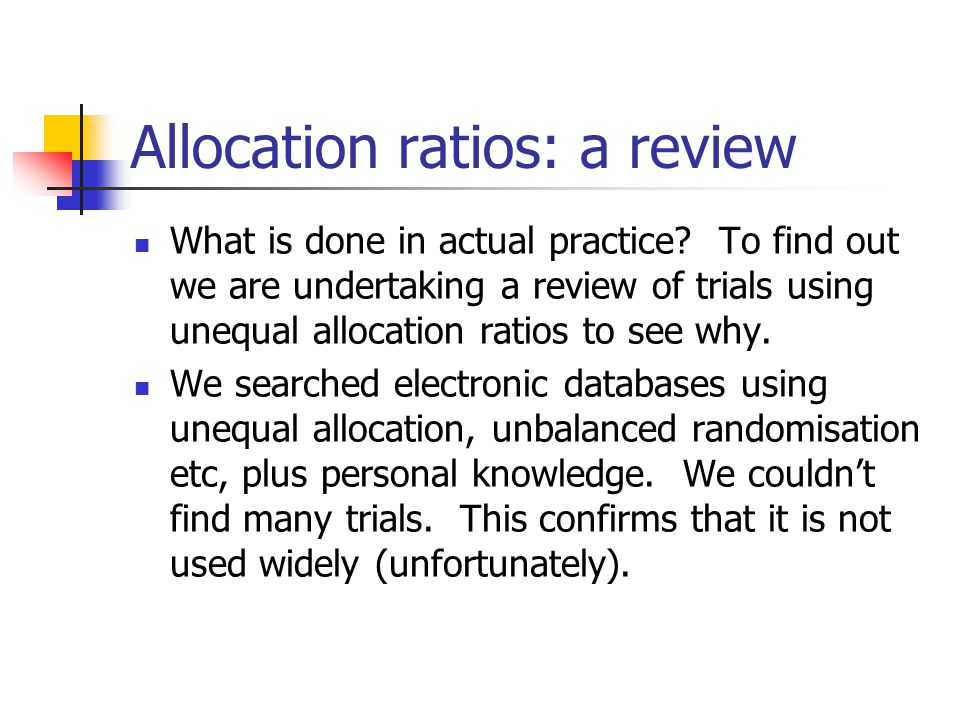 Allocation ratios: a review