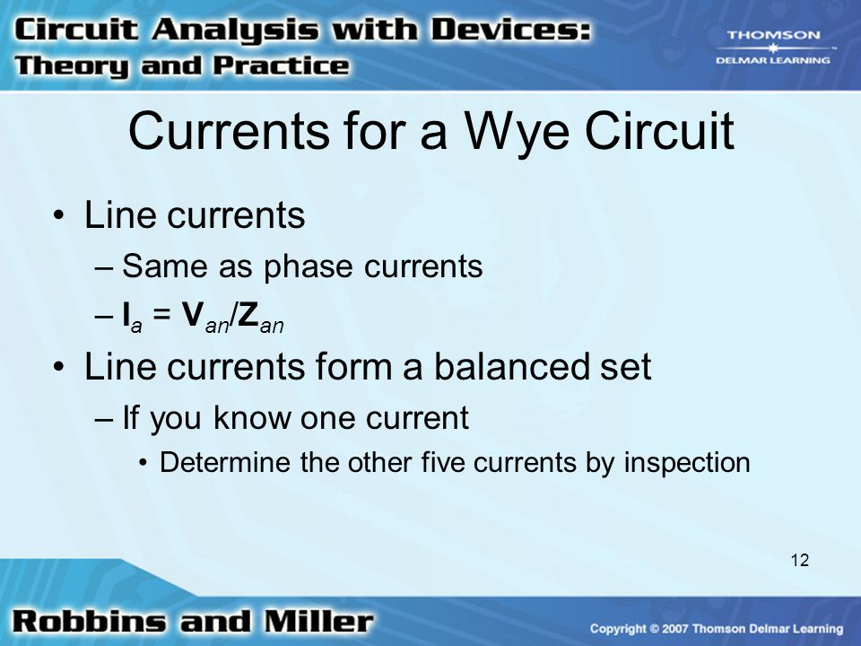 Currents for a Wye Circuit