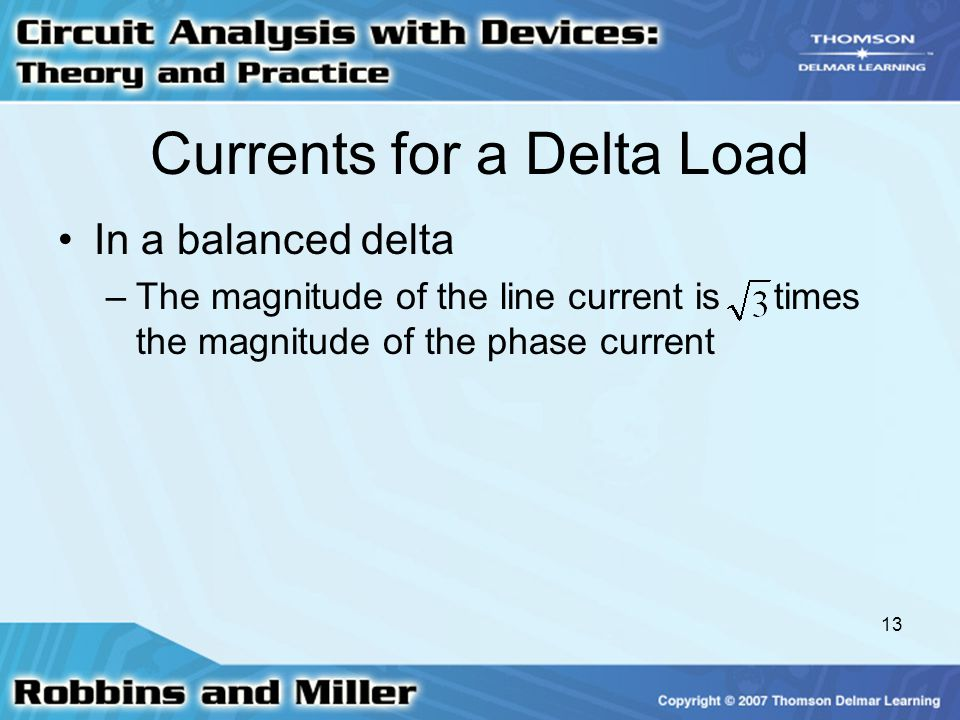 Currents for a Delta Load