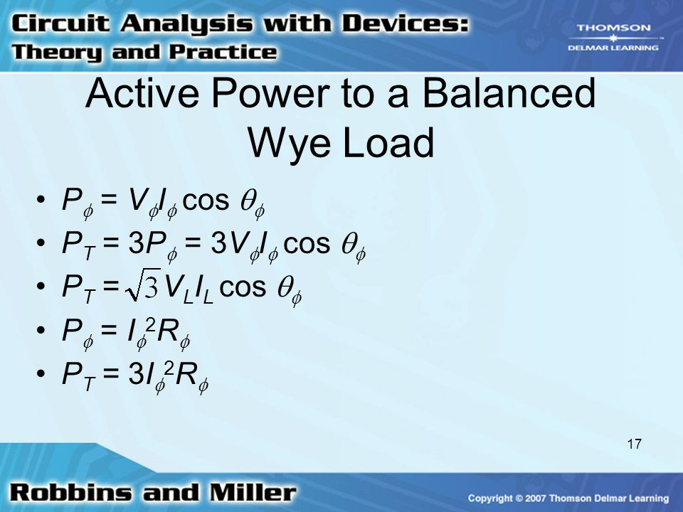 Active Power to a Balanced Wye Load