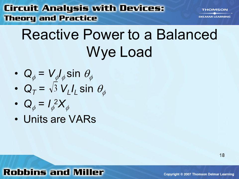 Reactive Power to a Balanced Wye Load