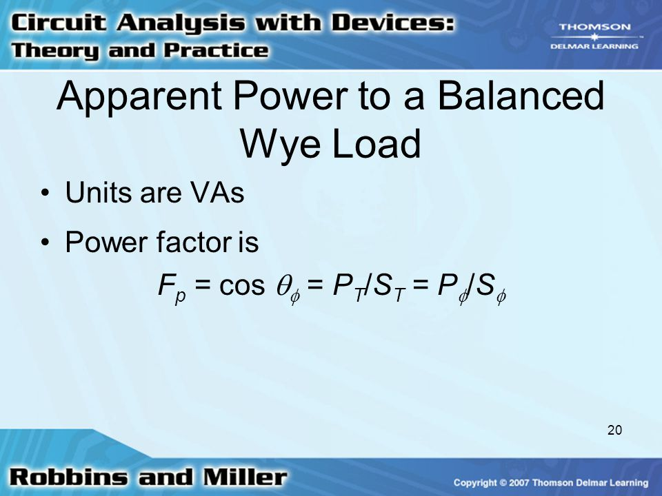 Apparent Power to a Balanced Wye Load