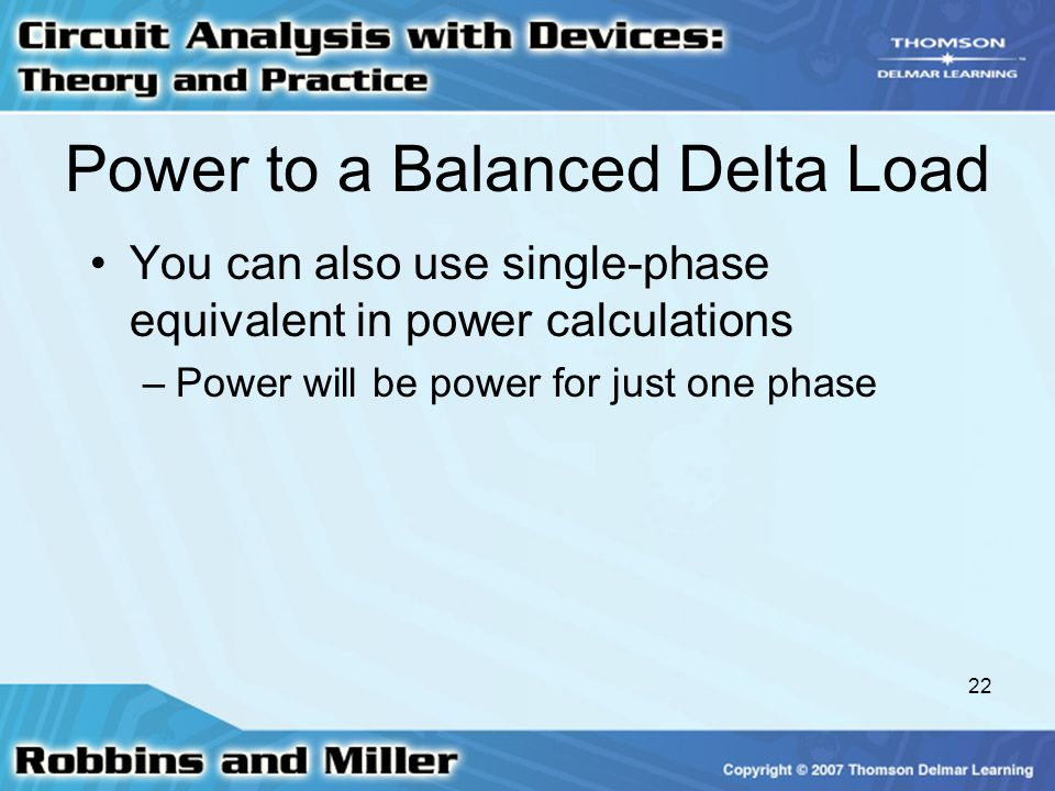 Power to a Balanced Delta Load