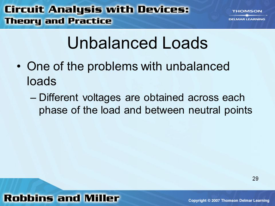 Unbalanced Loads One of the problems with unbalanced loads