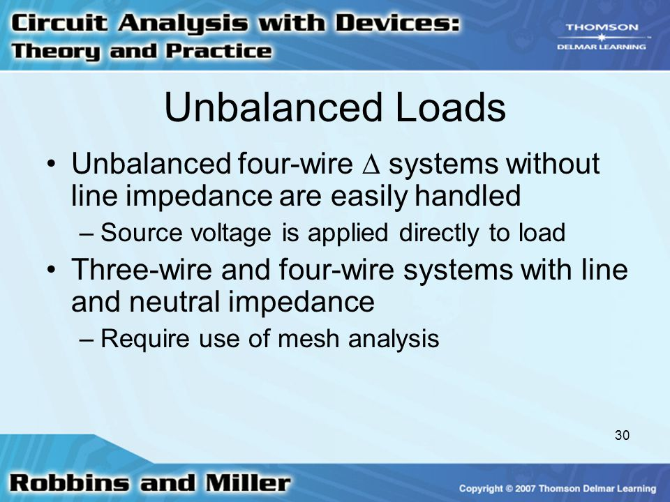 Unbalanced Loads Unbalanced four-wire  systems without line impedance are easily handled. Source voltage is applied directly to load.