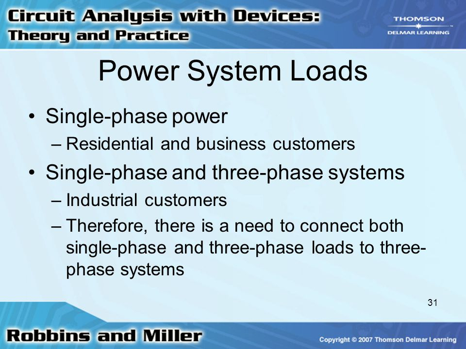 Power System Loads Single-phase power