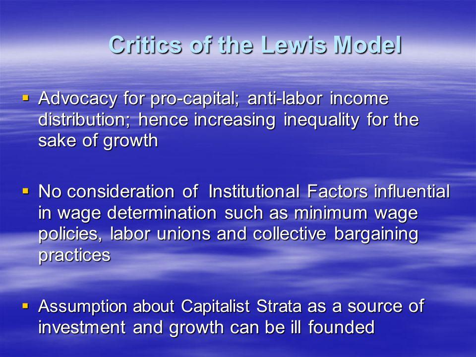 Critics of the Lewis Model