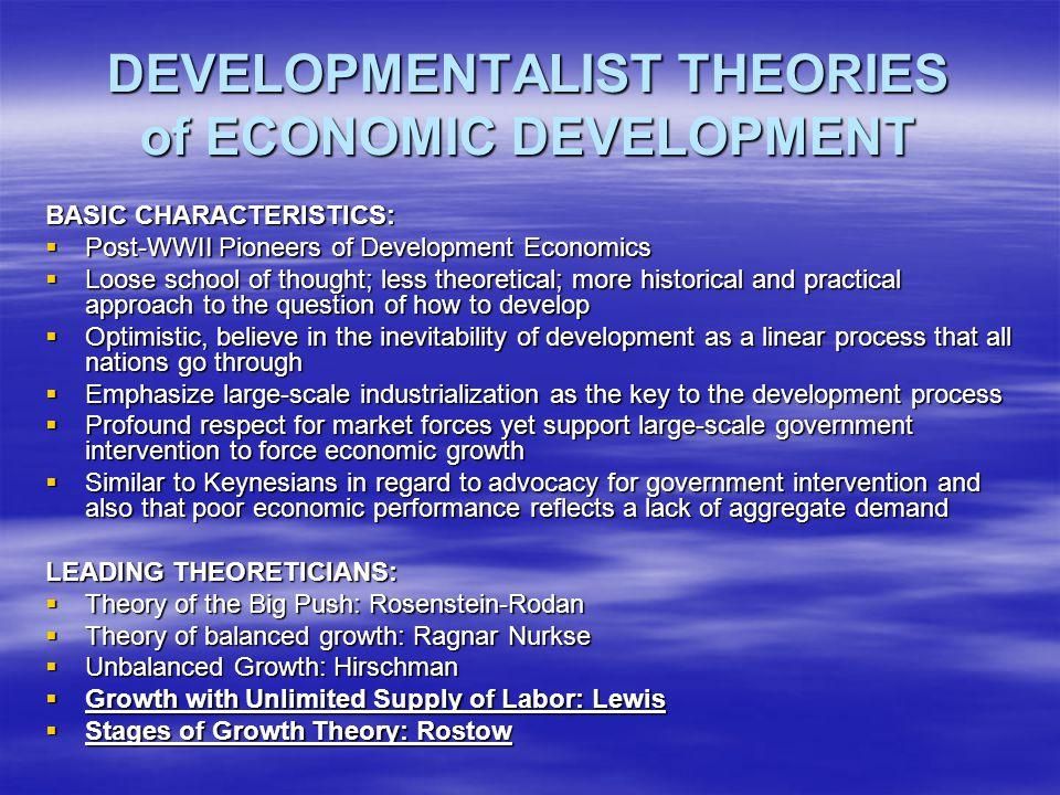DEVELOPMENTALIST THEORIES of ECONOMIC DEVELOPMENT