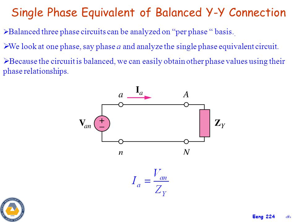 Single Phase Equivalent of Balanced Y-Y Connection