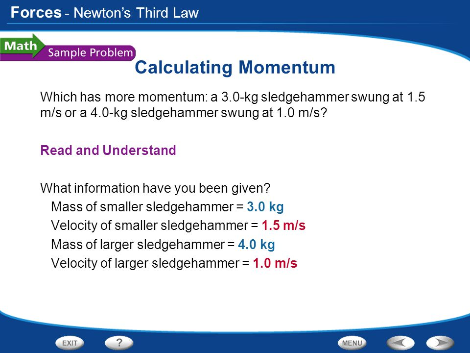 Calculating Momentum - Newton's Third Law
